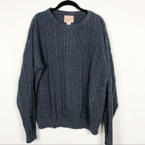 Woolrich blue gray cable knit sweater